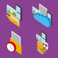 mensen cloud computing-opslag vector