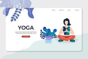 Sjabloon voor landingspagina's voor yoga vector