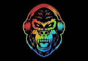 kleurrijke boze gorilla die hoofdtelefoons draagt