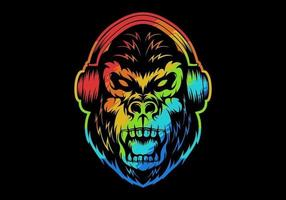 kleurrijke boze gorilla die hoofdtelefoons draagt vector