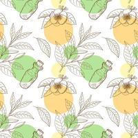 Tea Tree-bladeren en bloemen met fles. Hand getekend vintage naadloze patroon. vector