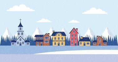 winter vakanties huizen kerstmis vector