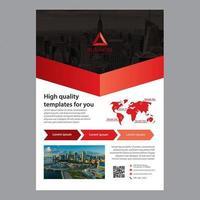 Zwart rood zakelijke brochure sjabloon met pijl ontwerp vector