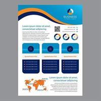 Blauwe en oranje golvende zakelijke brochure sjabloon met afgeronde rechthoeken
