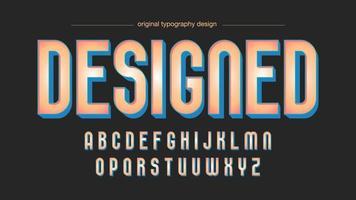Afgeronde oranje eenvoudig artistiek lettertype met blauwe schaduw vector