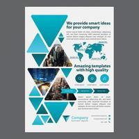 Moderne blauwe driehoek zakelijke brochureontwerp vector