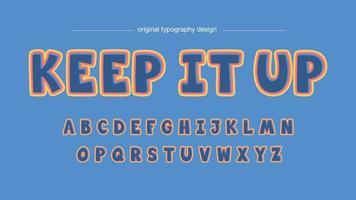Blauwe Cartoon Bubble lettertype met oranje en gele omtrek vector