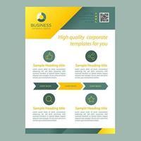 Geel groen zakelijke brochure sjabloon met pictogrammen en pijlen vector