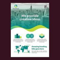 Groene moderne zakelijke brochure sjabloon met golvend ontwerp en grafiek elementen vector