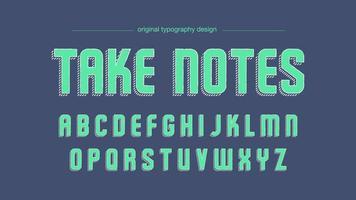 Modern groen schets artistiek lettertype met diagonale gestreepte schaduw vector