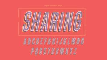 Paars cursief vet Artistiek lettertype met diagonale strepen vector