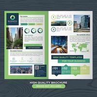 Moderne groene en blauwe zakelijke brochure sjabloon met grafiek en grafiek elementen vector