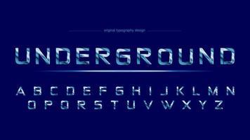 Blauw chroom staal sport artistiek lettertype vector