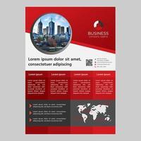 Rode kleurovergang vakken één pagina zakelijke brochure sjabloon vector