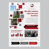 Rode vierkante pixel één pagina zakelijke brochure sjabloon vector