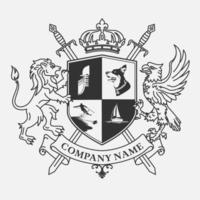 Wapenschild met leeuw en vogel ontwerp vector