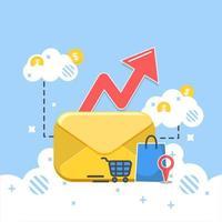 Grote envelop in wolken met pijl, boodschappentas en andere e-commerce pictogrammen