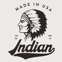 Indisch hoofd gemaakt in VS T-shirtontwerp vector