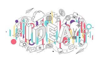 Isometrisch concept met dunne lijn letters, apparaten en office-pictogrammen vector