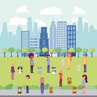mensen park en stad