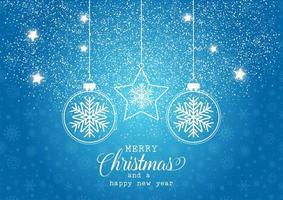 Blauwe Kerstmisachtergrond met fonkelingen