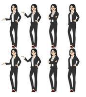 Illustratie vector afbeelding van alle 8 zakelijke vrouwen gebaren.