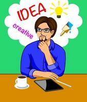 Een man die aan zijn bureau aan kunstideeën denkt