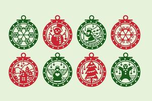 Rode en groene kerst ornament set vector