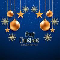 Mooie blauwe Merry Christmas-kaart