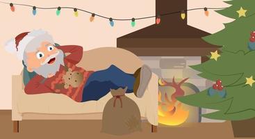 Santa Claus koelen op sofa na het werk