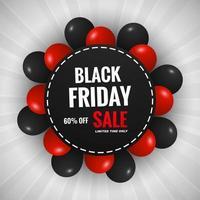 zwarte vrijdag verkoop achtergrond met ballonnen ontwerp