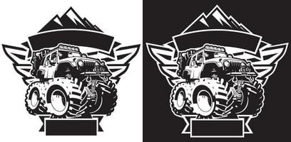 4x4 Off Road Sign T-shirt sjabloon vector