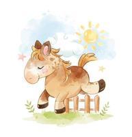 Paard dat over het hek springt