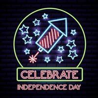 Amerikaanse onafhankelijkheidsdag neon bord met raket en sterren vector