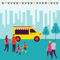 familie bij circus eerlijke voedselvrachtwagen