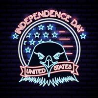 Amerikaanse onafhankelijkheidsdag neon bord met adelaarshoofd vector