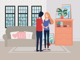 zwangerschapspaar in woonkamerscène