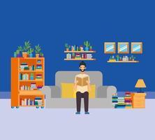 Thuis studeerkamer met man leesboek vector