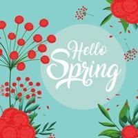 Hallo lente kaart met prachtige bloemen decoratie