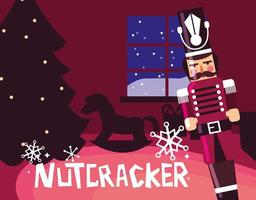notenkraker soldaat met boom kerstmis vector