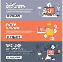 Netwerkbeveiliging, gegevensbescherming, veilige gegevensuitwisseling plat pictogrammen sjabloon voor spandoek
