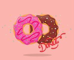 Donuts met roze glazuur en chocolade vector