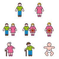 Paar familie en baby en zwangerschap Icon Set vector