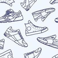 Naadloos patroon met sneaker schoen platte lijn beroerte pictogram vector