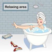 Vrouwen die een douche nemen in de badkuip vector