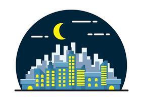 Nacht stadsgezicht vlakke afbeelding