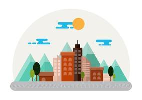 Stadslandschap met bergen