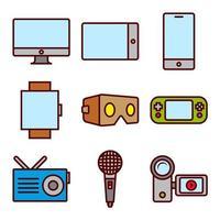 Verschillende media-apparaten Kleur Icon Set