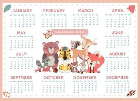 2020 kalender a3 formaat schattige bosdieren minimalisme per jaar vector