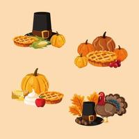 Thanksgiving eten elementen vector